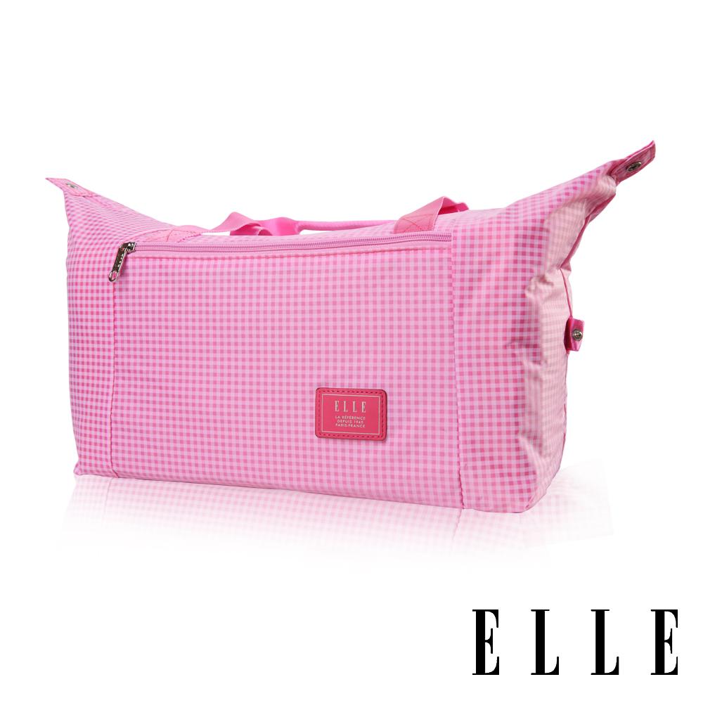ELLE 輕旅休閒可掛式摺疊收納尼龍手提行李包-(格紋粉 EL82358-33)