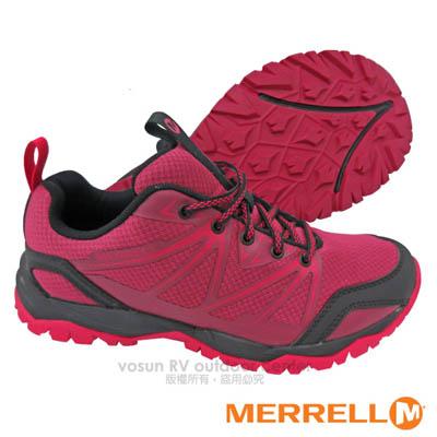【美國 MERRELL】女新款 CAPRA RISE 專業輕量化避震透氣健行鞋(抗菌防臭鞋墊 耐磨) GRIP鞋底.適登山 行走 紅苺色 ML36866