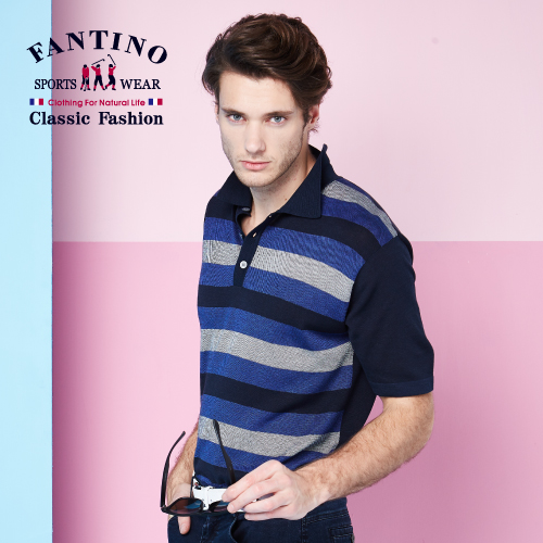 【FANTINO】男款 優雅質感POLO棉衫 (丈青) 531319