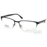 HUGO BOSS 光學眼鏡 經典休閒半框款(棕-琥珀) #HB0682 Z0U
