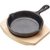 《Master》木盤+迷你單柄鑄鐵煎烤盤(圓11.5cm)