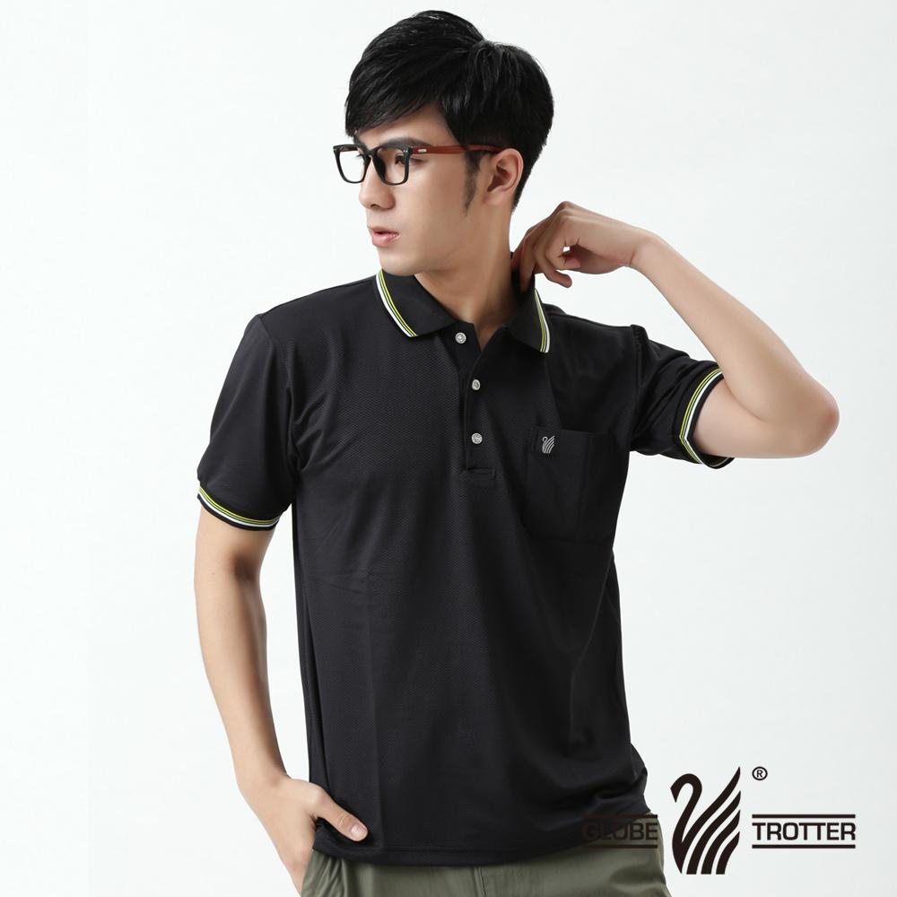 【遊遍天下】台灣製男款抗UV吸濕排汗機能POLO衫(黑M-3L 品特)