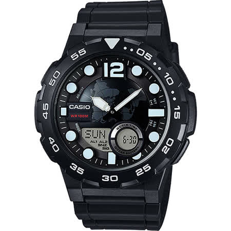 CASIO卡西歐 10-YEAR BATTERY街頭玩酷雙顯腕錶-黑/47mm AEQ-100W-1AVDF
