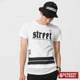5th STREET 潮感長版接網布短袖T恤-男-白色