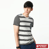 5th STREET 大小條剪接短袖T恤-男-白色