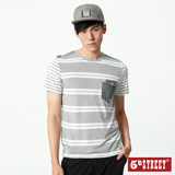 5th STREET 大小條剪接短袖T恤-男-灰褐