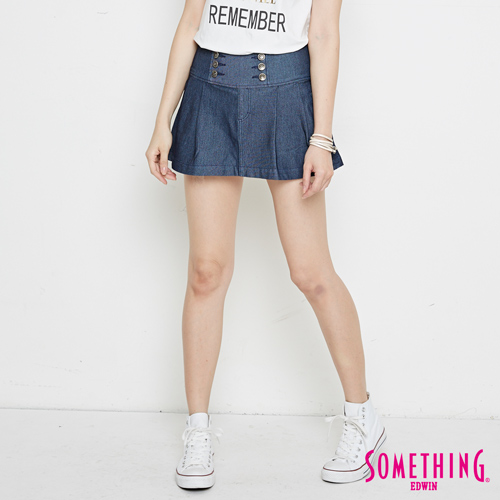 SOMETHING 高腰假牛仔短裙褲-女-原藍色