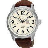 SEIKO 精工5號盾牌24石紳士風機械腕錶-米黃x咖啡/42mm 4R37-01D0S(SSA295J1)