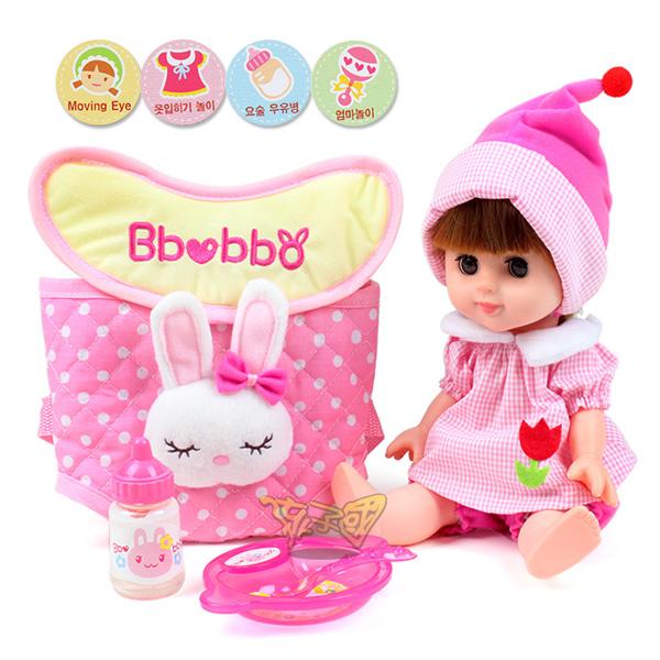 【孩子國】綺妮娃娃~附餐盤、奶瓶、背包版(ST安全玩具)
