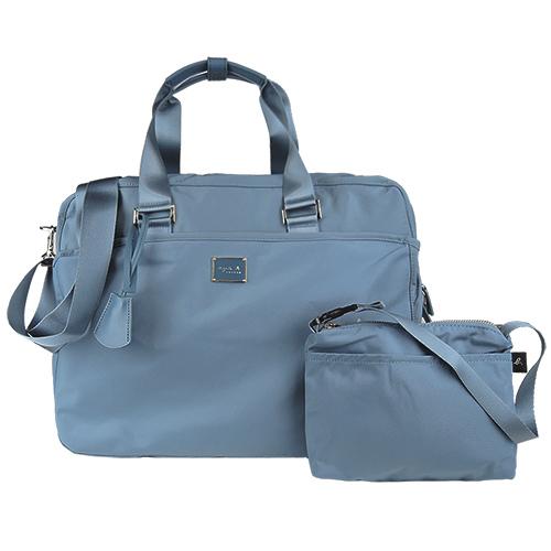 agnes b. 雙槓金屬LOGO尼龍旅行袋(大/灰藍)