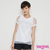 SOMETHING 網路限定 細網雙層三角印花短袖T恤-女-白色