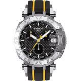 TISSOT T-RACE 環法自行車賽特別版計時腕錶-碳纖維/45mm T0924171720100