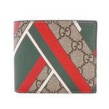 GUCCI GG chevron 印刷 PVC對開短夾(卡其棕x紅綠)(含零錢袋)