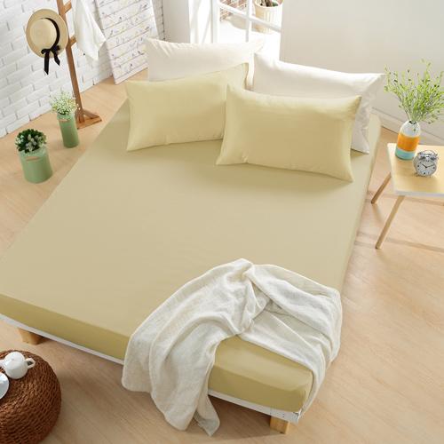 GOLDEN-TIME-純色主義-200織紗精梳棉-雙人床包三件組 (卡其)