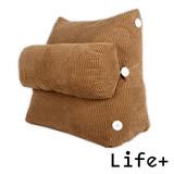 【Life Plus】典雅風尚舒壓萬用靠枕/抱枕/腰靠枕 (咖啡素面)