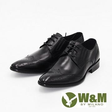 W&M 真皮雕花綁帶休閒男鞋 皮鞋-黑