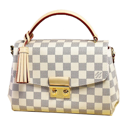 Louis Vuitton LV N41581 Croisette 白棋盤格紋手提小巧斜背包_預購