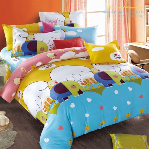 FOCA《童心象園》加大100%精梳棉四件式舖棉兩用被床包組