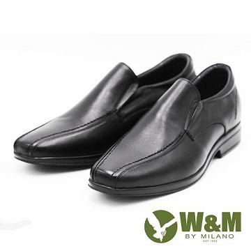 W&M 特大碼男鞋 英倫風範商務正裝皮鞋-黑