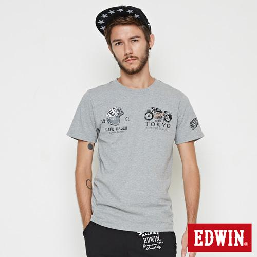 EDWIN 騎士風圖案短袖T恤-男-麻灰