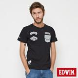 EDWIN 口袋徽章印繡短袖T恤-男-黑色