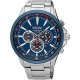 SEIKO 精工 SOLAR 太陽能奔馳計時腕錶-藍/44mm V175-0DM0B(SSC495P1)