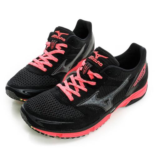 MIZUNO 美津濃 女鞋 慢跑鞋 黑粉紅 J1GB167689