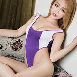 【Anna Mu】情趣睡衣 紫白性感高衩死庫水