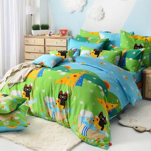義大利Fancy Belle X Malis《大自然的淋浴》雙人四件式防蹣抗菌舖棉兩用被床包組