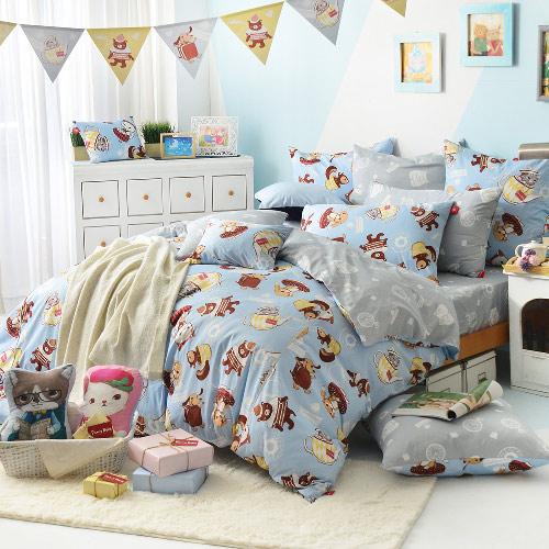 義大利Fancy Belle X DreamfulCat《愛麗絲茶會-藍》雙人四件式防蹣抗菌舖棉兩用被床包組