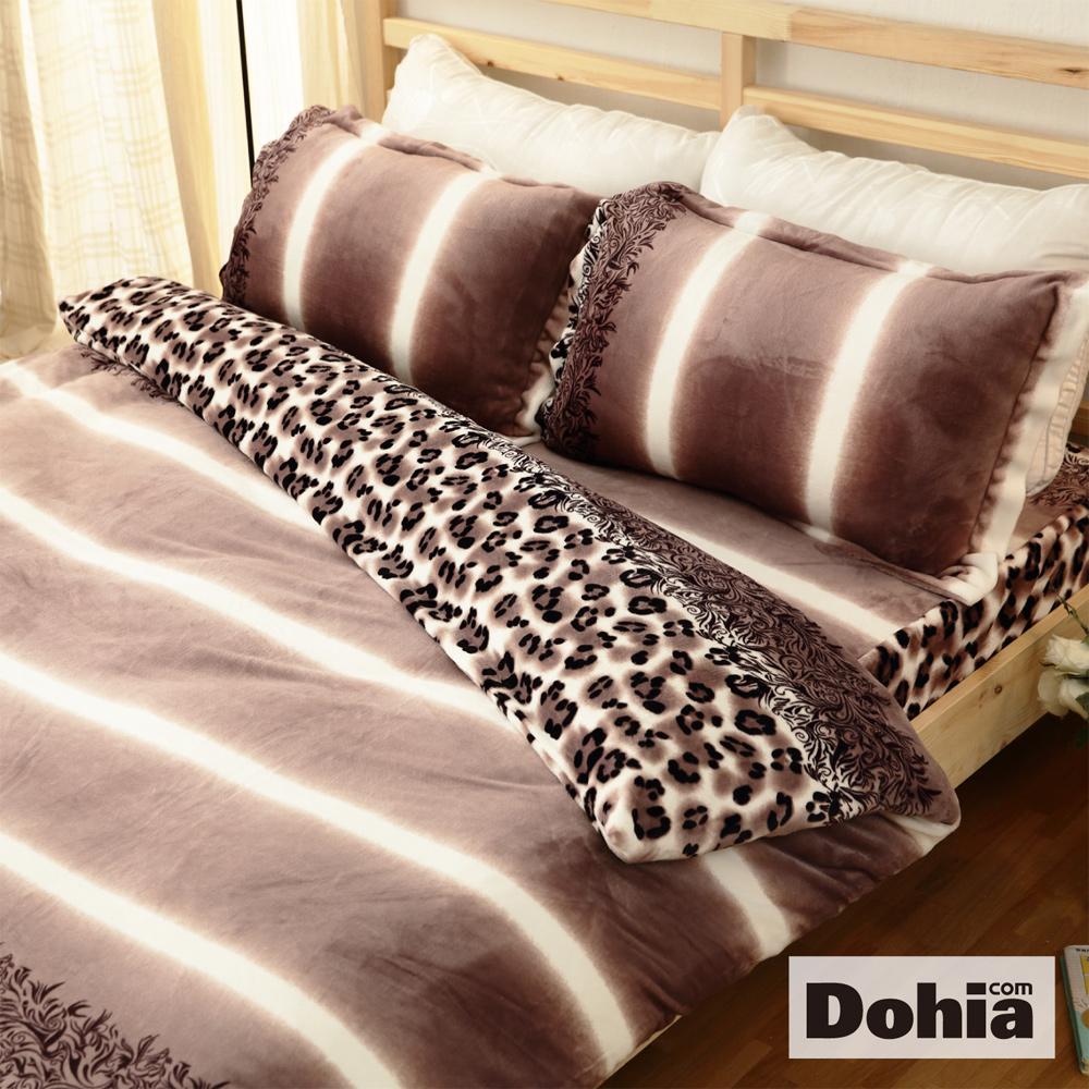 《Dohia-風格豹紋》雙人加大四件式超柔法蘭絨被套鋪棉床包組