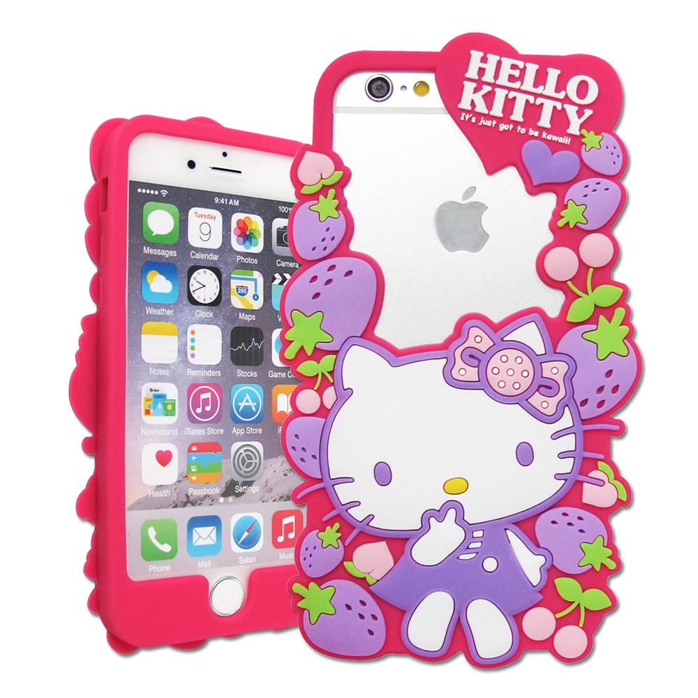三麗鷗授權正版 Hello Kitty iPhone 7 / 6s / 6 4.7吋 花漾鏤空軟膠套(草莓)