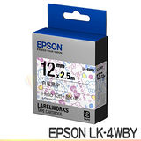 EPSON LK-4WBY Kitty系列-甜心款 標籤機色帶(白底黑字) (寬度12mm)