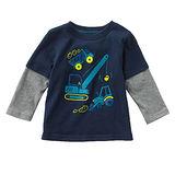 (兒童棉T)歐美風格設計 小童中童男童長棉T居家外出 重機械組合 藍色