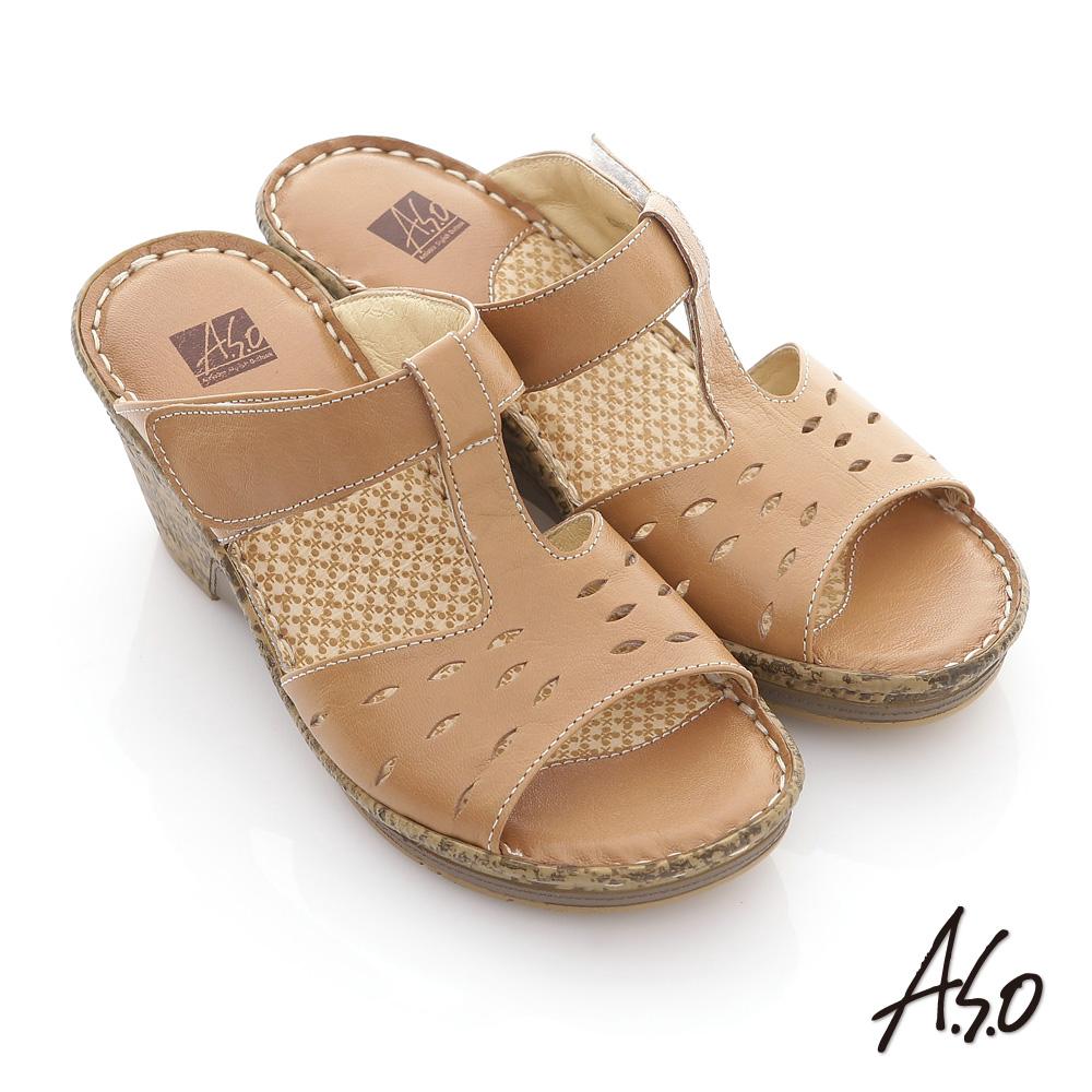 【A.S.O】頂級氣墊 全真皮簍空奈米氣墊涼拖鞋(茶)