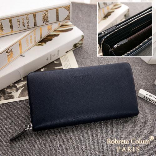 Roberta Colum - 經典品味鹿紋牛皮雙拉鍊手拿包-共3色