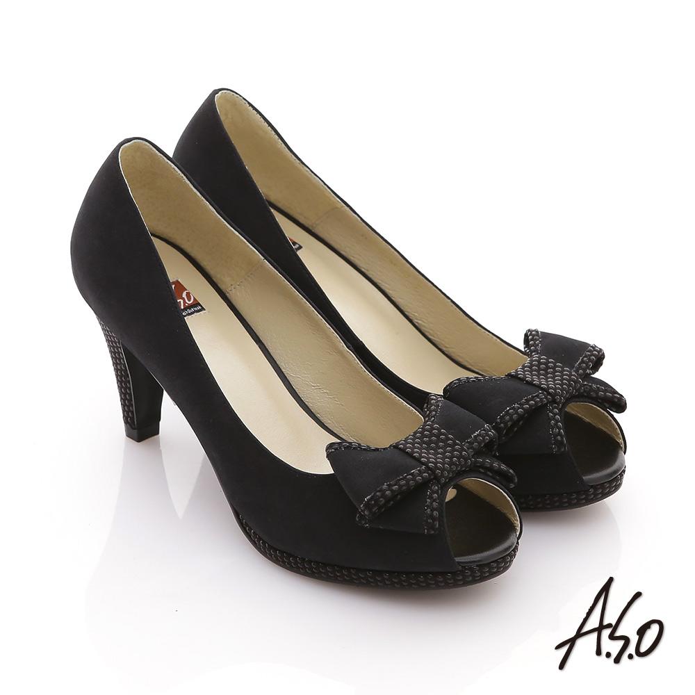 【A.S.O】玩美彈麗II 全真皮絨面立體結飾魚口鞋(黑)