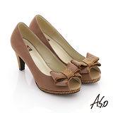 【A.S.O】玩美彈麗II 全真皮絨面立體結飾魚口鞋(茶)