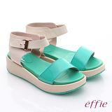 【effie】樂活假期 真皮寬版條帶魔鬼氈楔型鞋(綠)