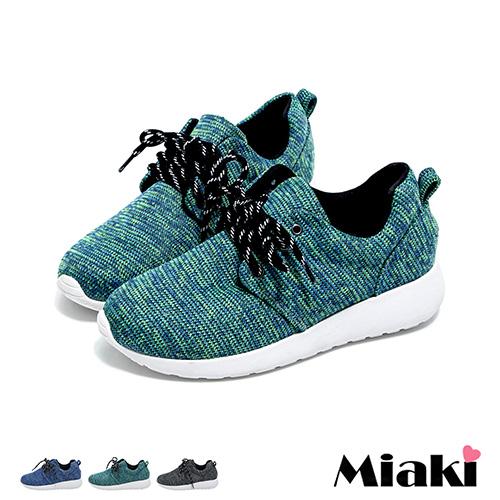 【Miaki】MIT 慢跑鞋韓混色編織學院綁帶厚底休閒包鞋 (綠色 / 藍色 / 黑色)