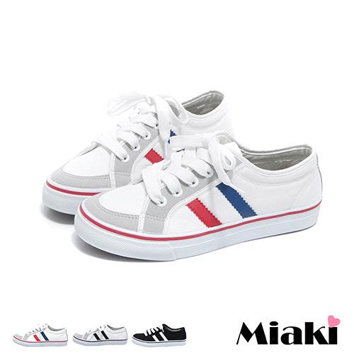 【Miaki】MIT 休閒鞋韓學院平底綁帶休閒包鞋 (白黑 / 紅藍 / 黑白色)