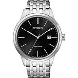 CITIZEN星辰 ECO-Drive 光動能紳士腕錶-黑x銀/40mm BM7301-57E