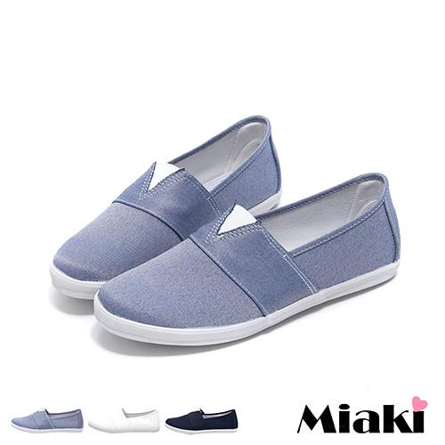 【Miaki】MIT 休閒鞋韓V素色舒適平底懶人包鞋 (白色 / 黑色)