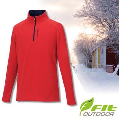 【維特 FIT】男新款 雙刷單搖保暖衣/中層衣.長袖上衣.輕量立領半開襟休閒衫/細緻搖粒 GW1101 魅力紅