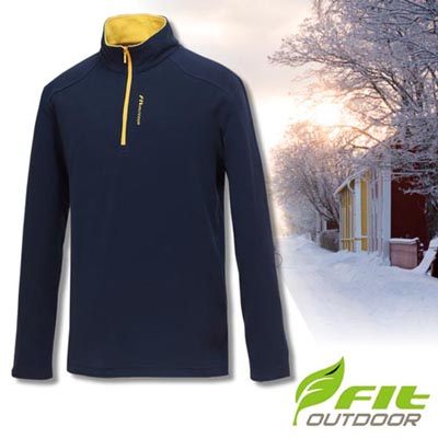 【維特 FIT】男新款 雙刷單搖保暖衣/中層衣.長袖上衣.輕量立領半開襟休閒衫/細緻搖粒 GW1101 深藍色