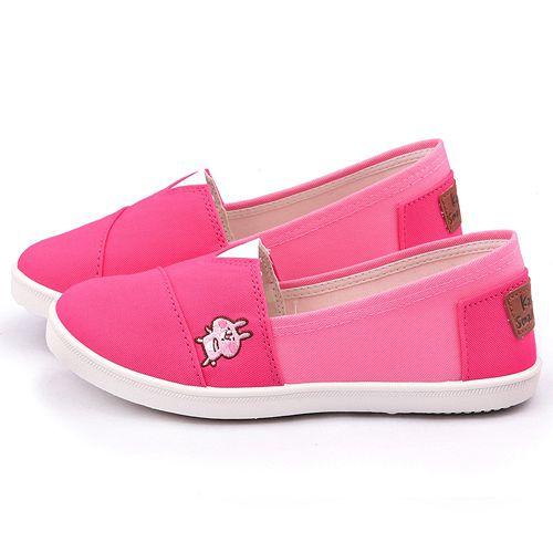 童鞋城堡-卡娜赫拉 女款 質感簡約帆布休閒鞋KI8308-桃