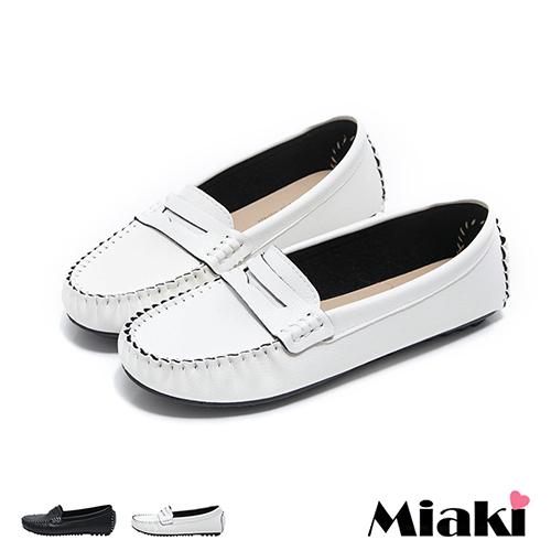 【Miaki】MIT 樂福鞋日雜皮質簡約平底休閒包鞋 (白色 / 黑色)