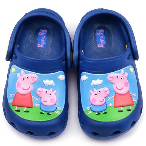 童鞋城堡-粉紅豬小妹 中童 花園鞋PG0001-藍