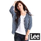 Lee 短袖格紋毛衣外套-女款(藍)