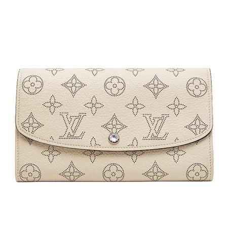 Louis Vuitton LV M60177 經典花紋打孔全皮革壓紋扣式長夾.象牙白_預購